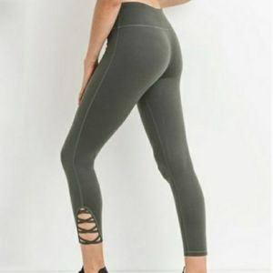 New MONO B Dark Olive Cutout Lattice Yoga Leggings